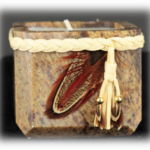 Authentic Stone Candle Pot w/Braided Leather