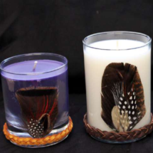 Natural Feathers with Deerskin Leather Braid Decorated Candles